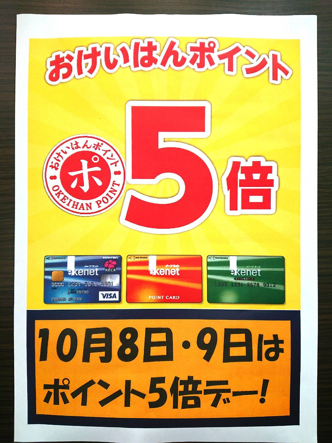 【10/8(木)~10/9(金)おけいはんポイント5倍!】
