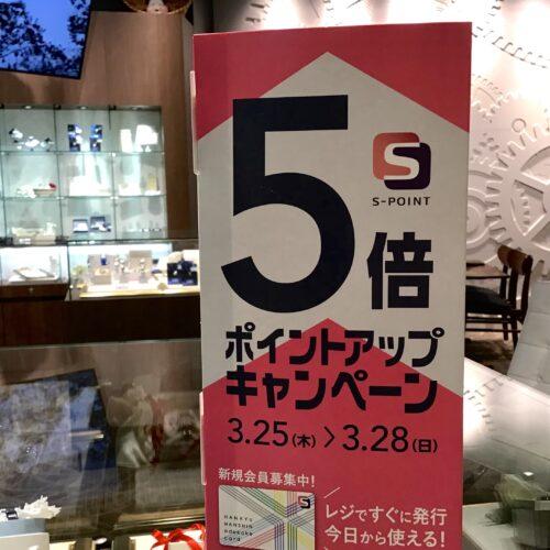 【Sポイント5倍デーのお知らせ】3/25~3/28